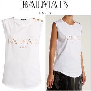 💕✨ BALMAIN Logo-print cotton tank top - white ✨💕